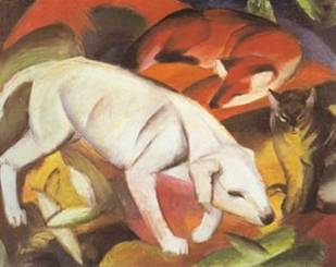 A Dog, A Fox And A Cat - Franz Marc