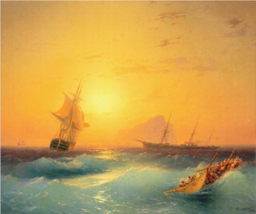 American Shipping off the Rock of Gibraltar - Ivan Aivazovsky