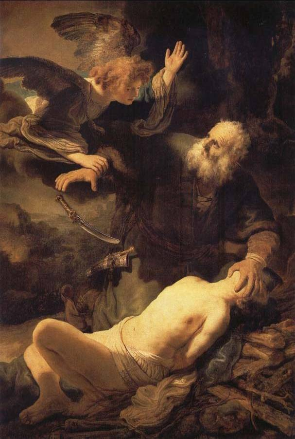 Angel Stopping Abraham from Sacrificing Isaac to God - Rembrandt van Rijn