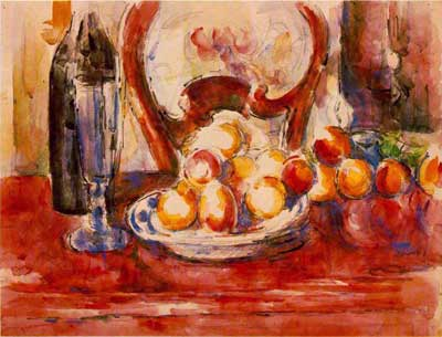 Apples, Bottle & Chairback - Paul Cezanne