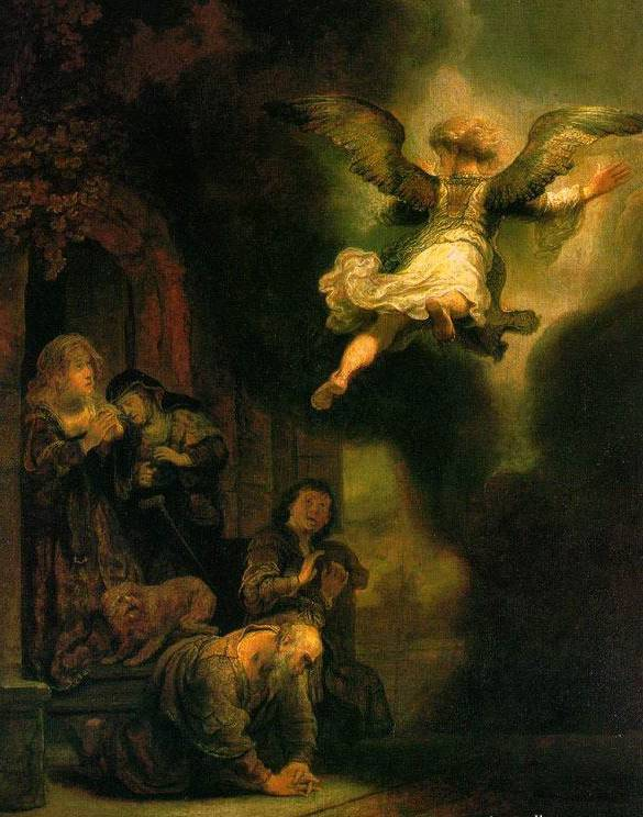 Archangel Leaving the Family of Tobias - Rembrandt van Rijn