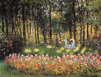 Artist's Family in the Garden - Claude Monet