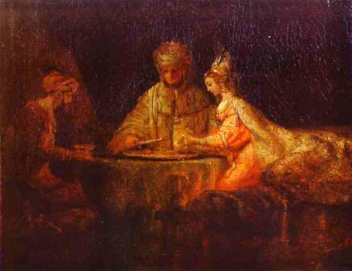 Assuerus, Haman and Esther - Rembrandt van Rijn