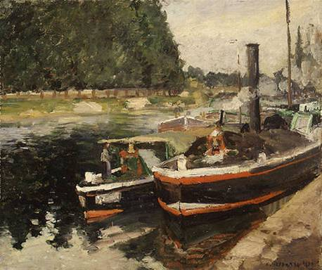 Barges at Pontoise - Camille Pissarro