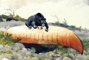 Bear and Canoe - Winslow Homer