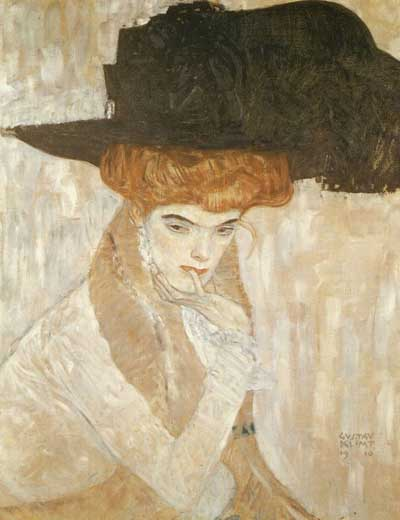Black Feather Hat - Gustav Klimt