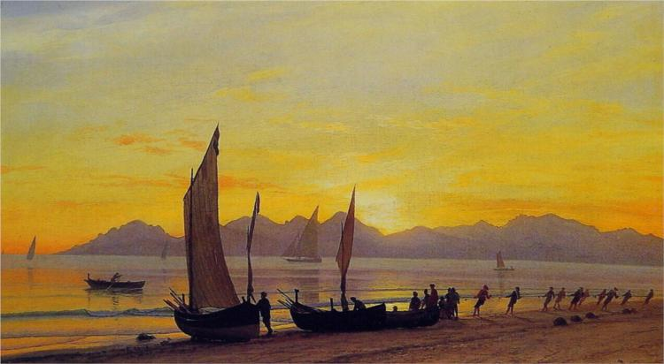 Boats Ashore at Sunset - Albert Bierstadt
