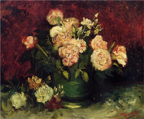 Bowl with Peonies and Roses - Vincent Van Gogh
