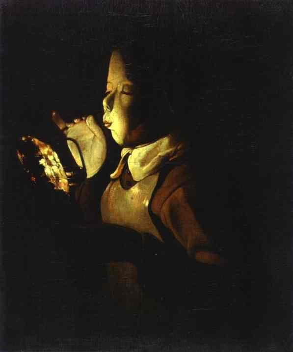 Boy Blowing at Lamp - Georges de La Tour