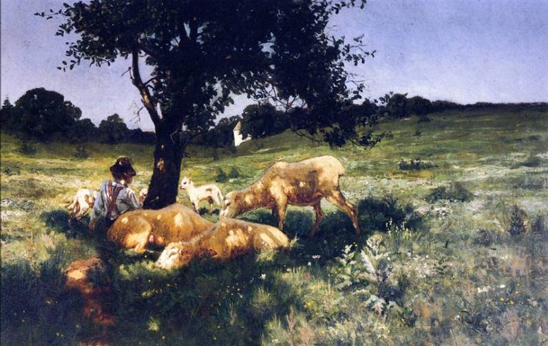 Boy and Sheep Lying under a Tree - Henry Ossawa Tanner