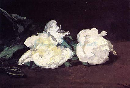 Branch of White Peonies and Shears - Edouard Manet