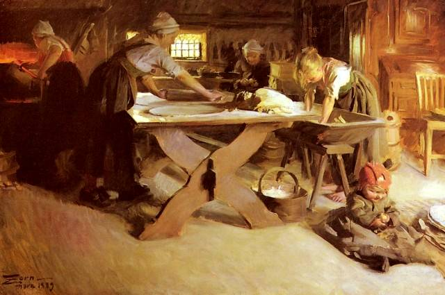 Brodbaket (Baking the Bread) - Anders Zorn