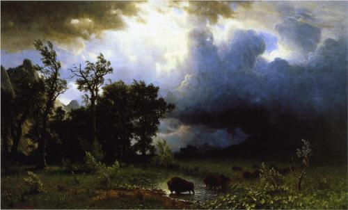 Buffalo Trail the Impending Storm - Albert Bierstadt