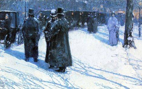 Cab Stand at Night, Madison Square, New York - Childe Hassam