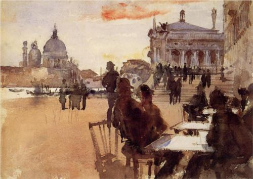Cafe on the Riva degli Schiavoni - John Singer Sargent