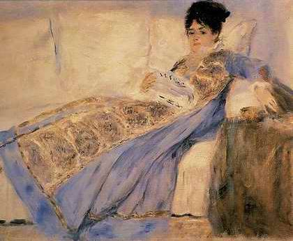 "Camille Monet reading ""Le Figaro"" - Pierre Auguste Renoir"
