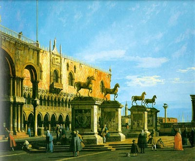 Capriccio, The Horses of San Marco in the Piazzetta - Canaletto