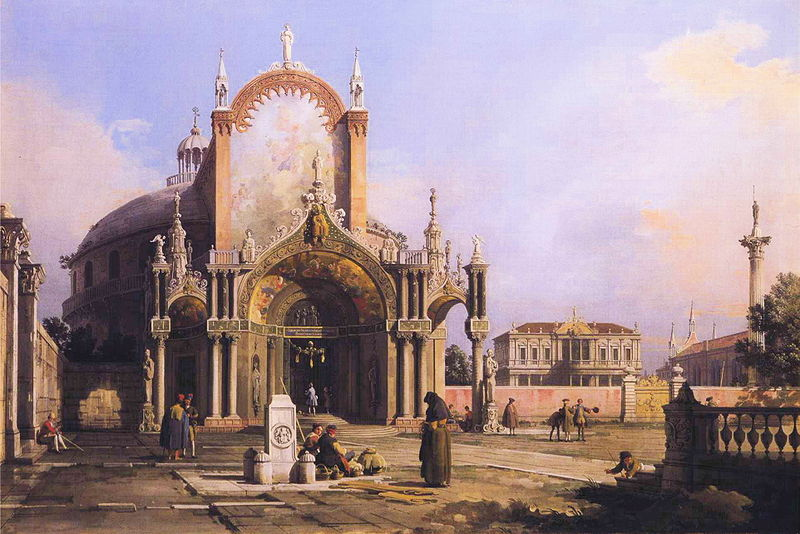 Capriccio of a Church - Canaletto