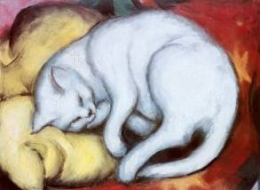 Cat on a Yellow Pillow - Franz Marc