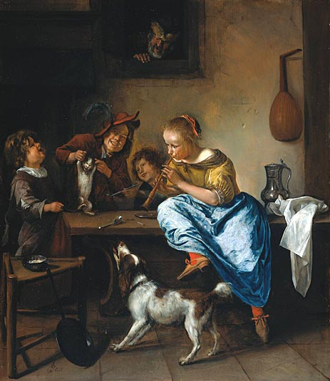 Children Teaching a Cat to Dance - Jan Steen