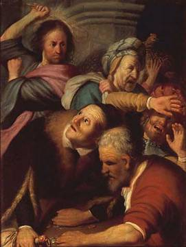 Christ Drives Money Changers from the Temple - Rembrandt van Rijn