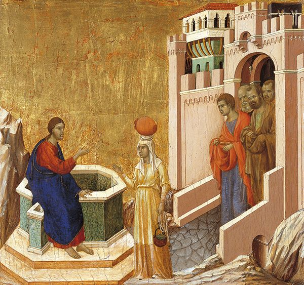 Christ and the Samaritan Woman - Duccio di Buoninsegna