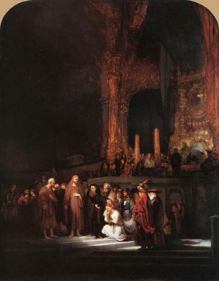 Christ and the Woman Taken in Adultery - Rembrandt van Rijn
