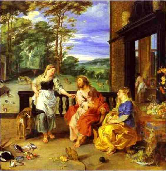 Christ in the House of Martha and Mary w/ Jan Bruegel - Peter Paul Rubens