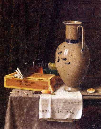 Cigar Box, Pitcher and New York World - William Harnett