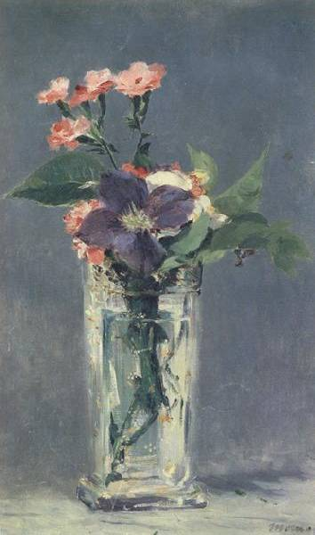 Clematis in a Crystal Vase - Edouard Manet