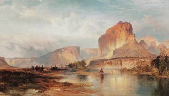 Large Oil painting Thomas Moran Romantic Landscape /& woman on the bath to home