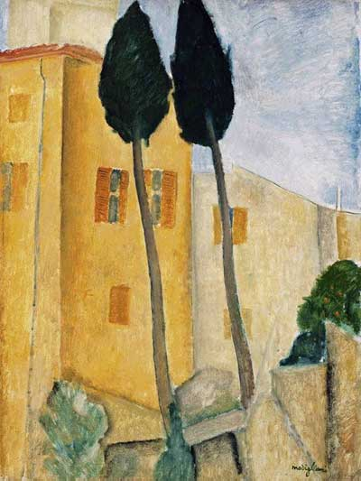 Cypress Trees & Houses - Amedeo Modigliani