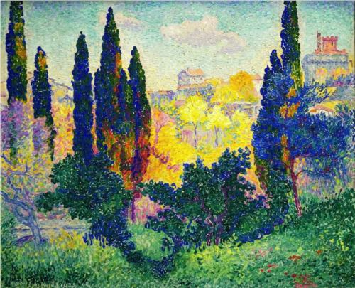 Cypress Trees at Cagnes - Henri Edmond Cross Delacroix