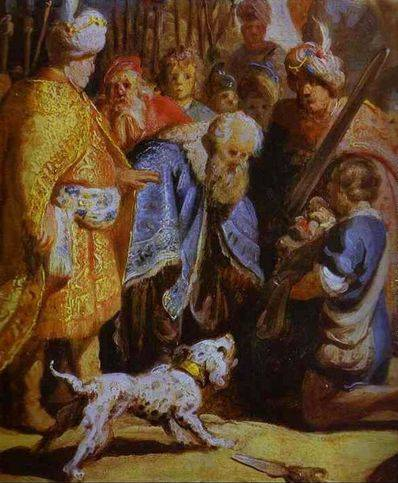David Presenting the Head of Goliath to King Saul - Rembrandt van Rijn