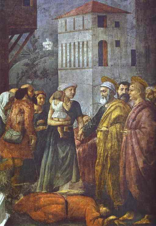 Distribution of the Goods of the Community and the Death of Ananias - Masaccio