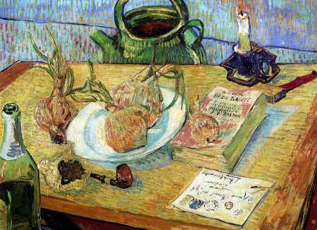 Drawing Board Pipe Onions and Wax - Vincent van Gogh
