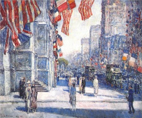 Early Morning on the Avenue in May - Childe Hassam