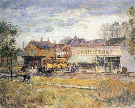 End of the Trolley Line, Oak Park, Illinois - Childe Hassam