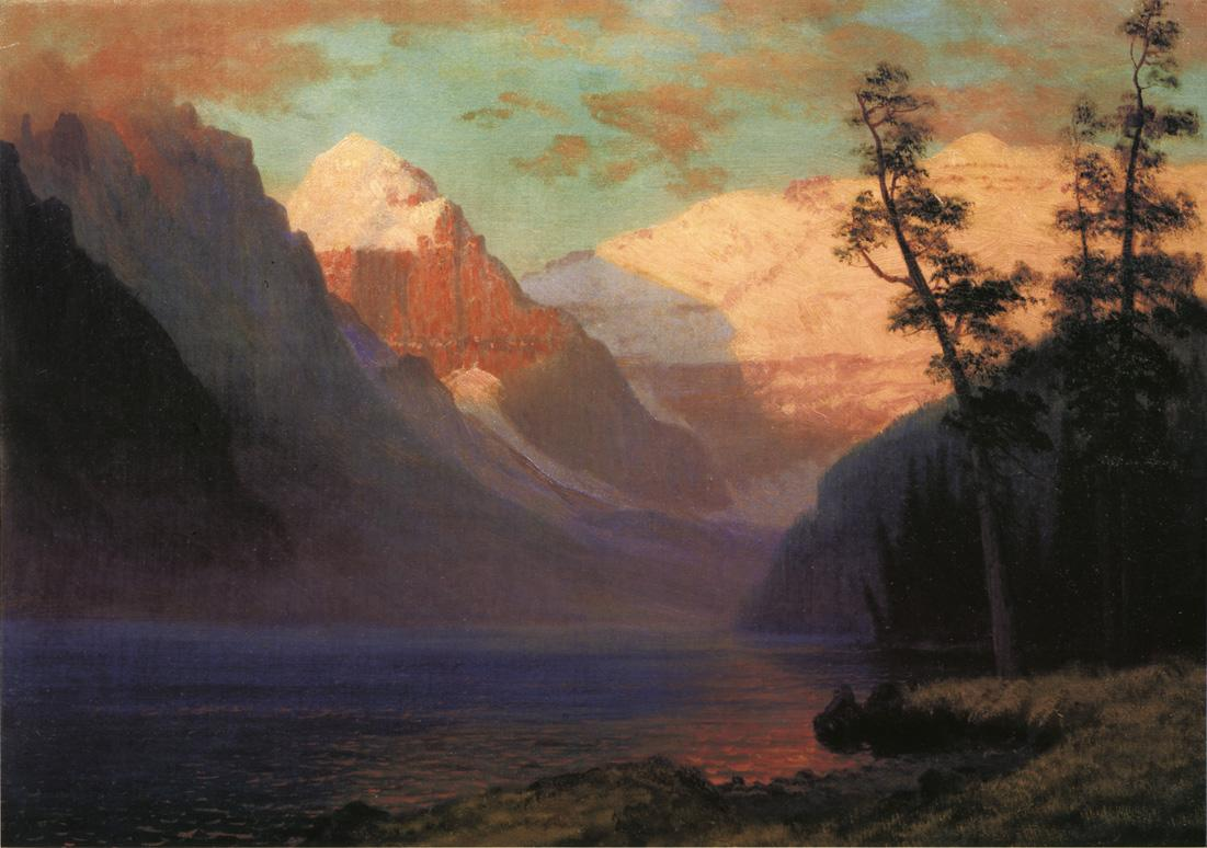 Evening Glow Lake Louise - Albert Bierstadt