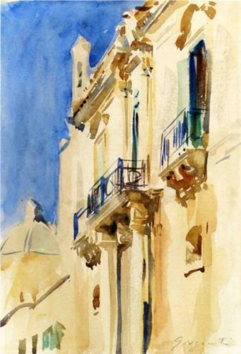 Facade of a Palazzo at Girgente, Sicily - John Singer Sargent