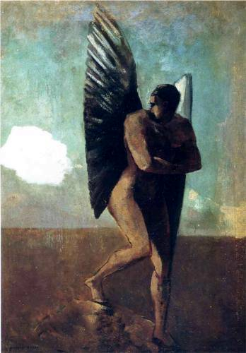 Fallen Angel Looking at a Cloud - Odilon Redon