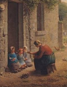 Feeding the Young - Jean Francois Millet