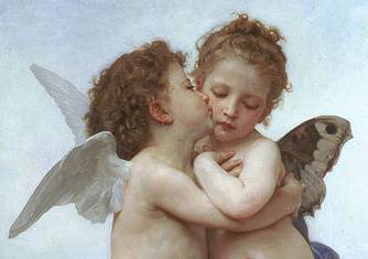 The First Kiss detail - William Adolphe Bouguereau