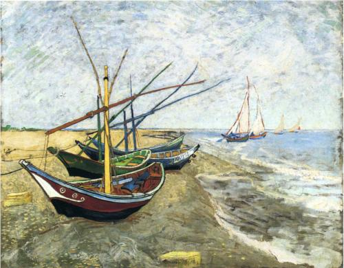 Fishing Boats on the Beach Saintes Maries De La Mer - Vincent Van Gogh