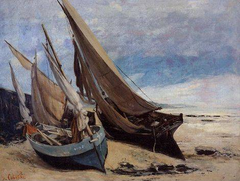 Fishing Boats on the Deauville Beach - Gustave Courbet