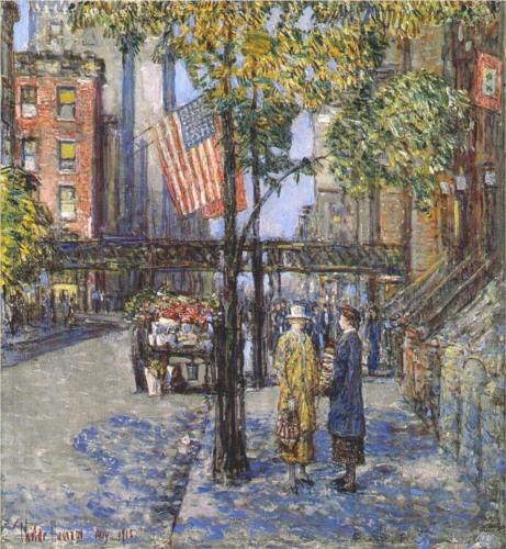 Flags on the Friar's Club - Childe Hassam