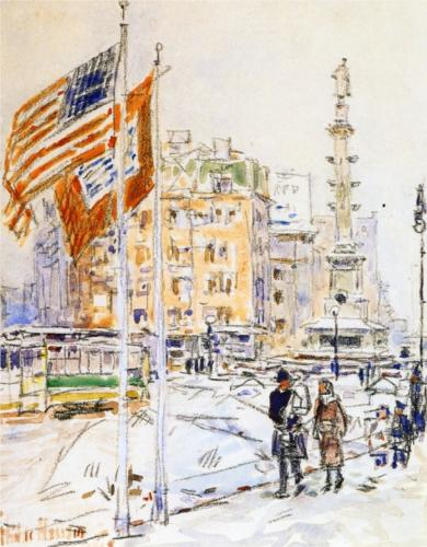 Flags, Columbus Circle - Childe Hassam