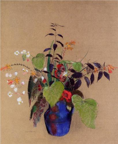 Flowers in a Blue Jug - Odilon Redon