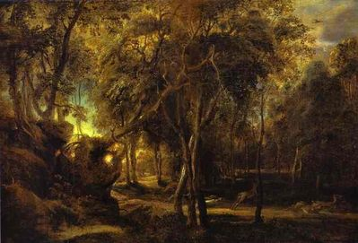 Forest at Dawn with a Deer Hunt - Peter Paul Rubens