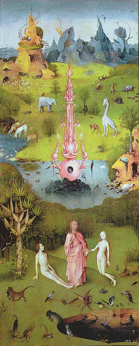 Garden of Earthly Delights Left panel (Joining of Adam and Eve) - Hieronymus Bosch